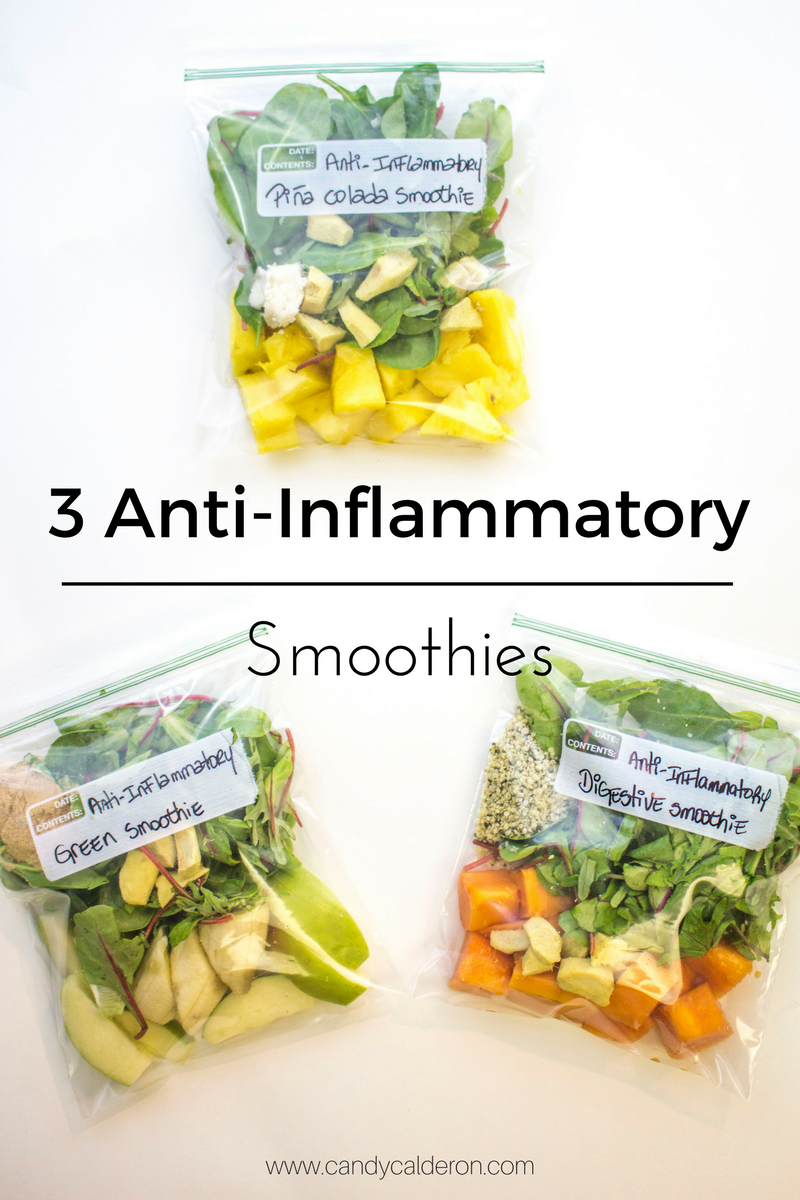 3 of my favorite anti-inflammatory smoothies. Think lots of ginger ad good for you nutrients that will get you alkaline and glowing from the inside out!