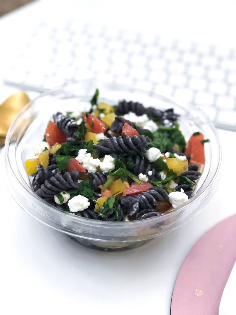 I love this ThisBlack Bean Pasta Salad, itpacks 14g of protein per each 3/4 cup (just pasta alone) + it has only one ingredient (black bean flour). Perfect meatless meal, and so easy to make!