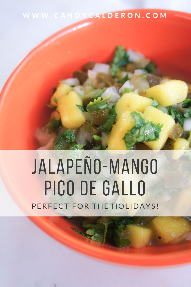 The holidays are here, and I wanted to start sharing recipes that are healthy, yummy & holiday approved starting with this Jalapeño-Mango Pico De Gallo!